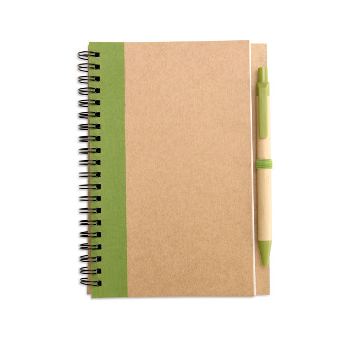 Recycled paper notebook + pen Sonora Plus - Lime