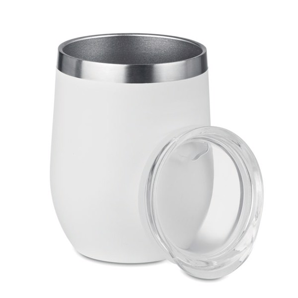 300ml double wall SS mug Chin Chin - White