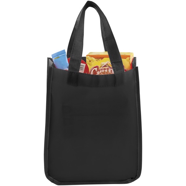 Acolla small laminated shopping tote bag - Solid black