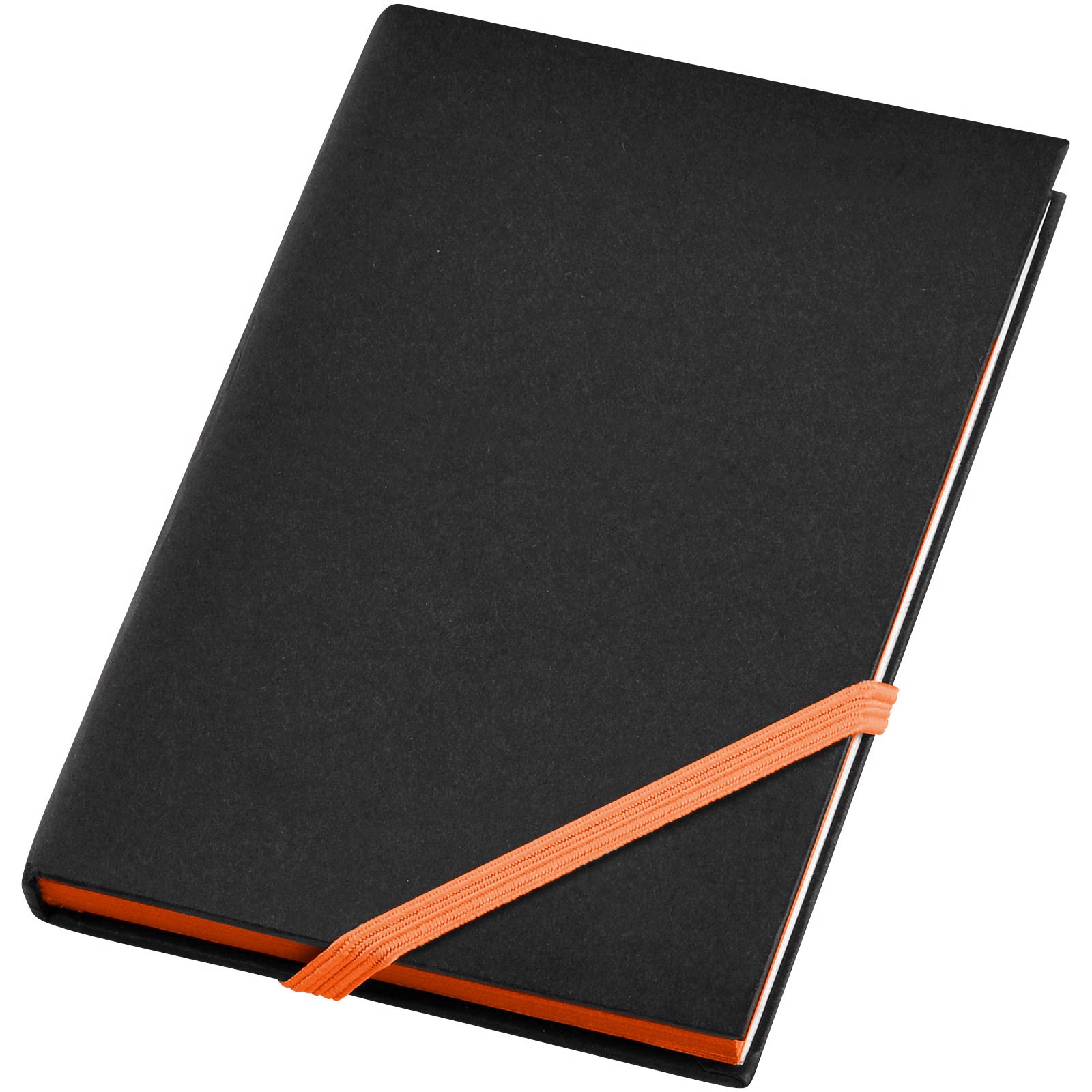Travers small hard cover notebook - Solid black / Orange