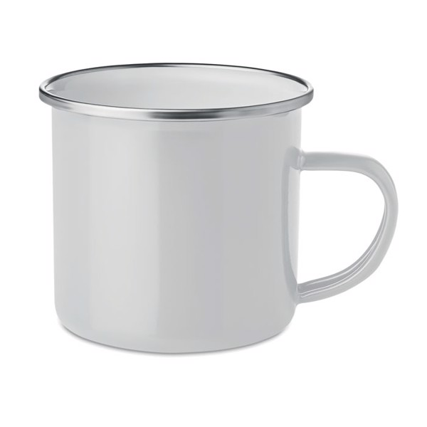 Metal mug with enamel layer Plateado - White