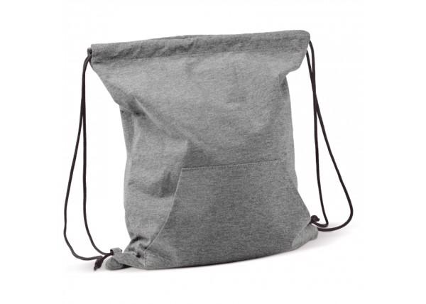 Mochila Jersey con bosillo delantero y cordones ajustables - Gris / Negro