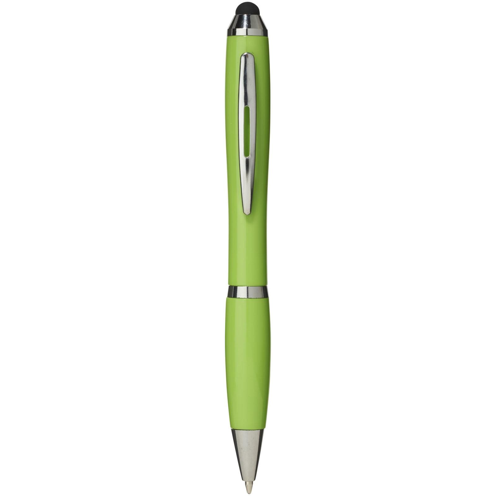 Barevné kuličkové pero a stylus Nash s barevným úchopem - Limetka