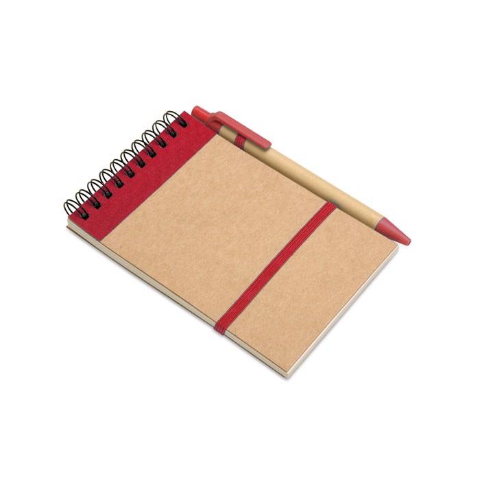 Notes z długopisem 70 kartek Sonora - czerwony