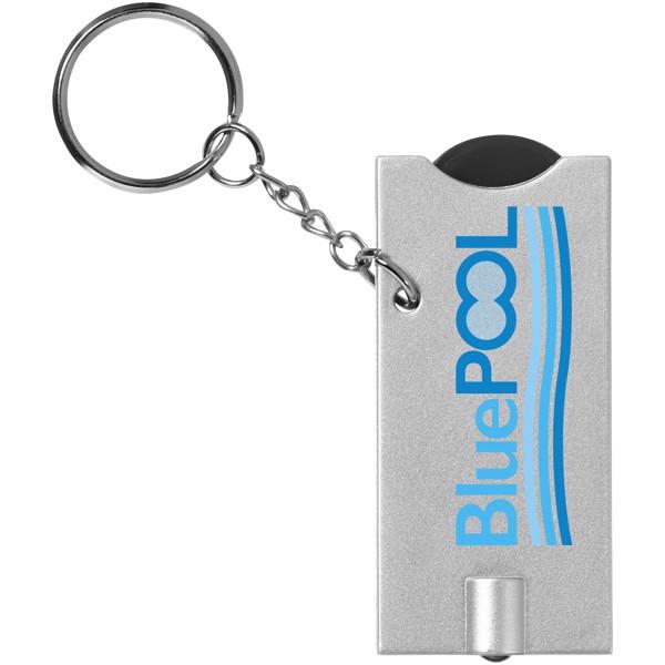 Klíčenkový držák na žeton Allegro s LED svítilnou - Černá / Stříbrný