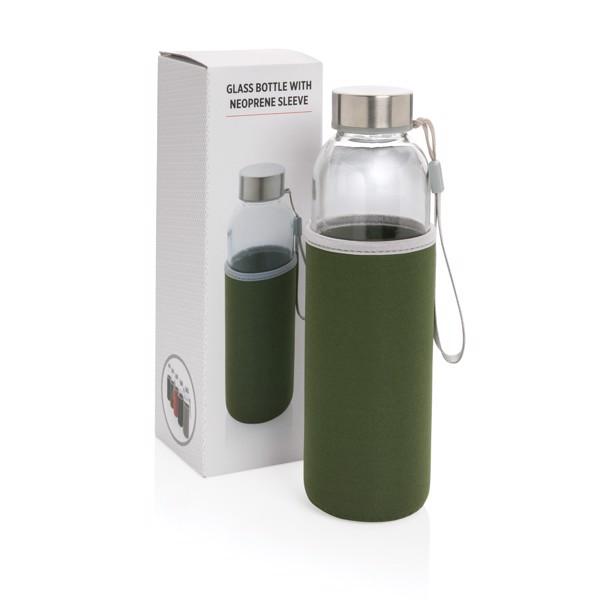 Skleněná lahev v neoprenovém obalu - Zelená