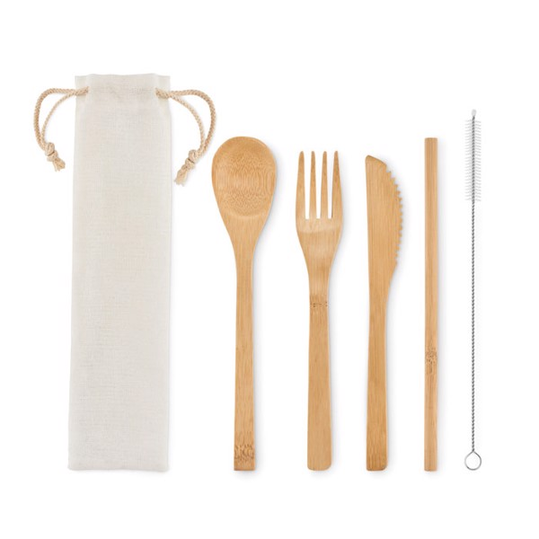 bamboo cutlery set in pouch