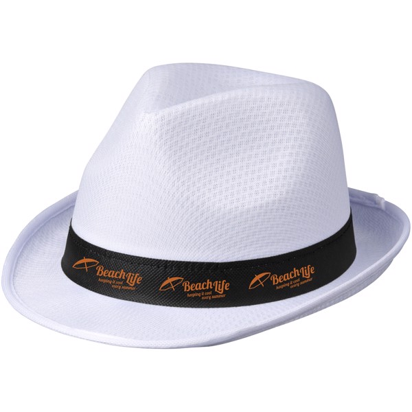 Trilby hat with ribbon - White / Solid black