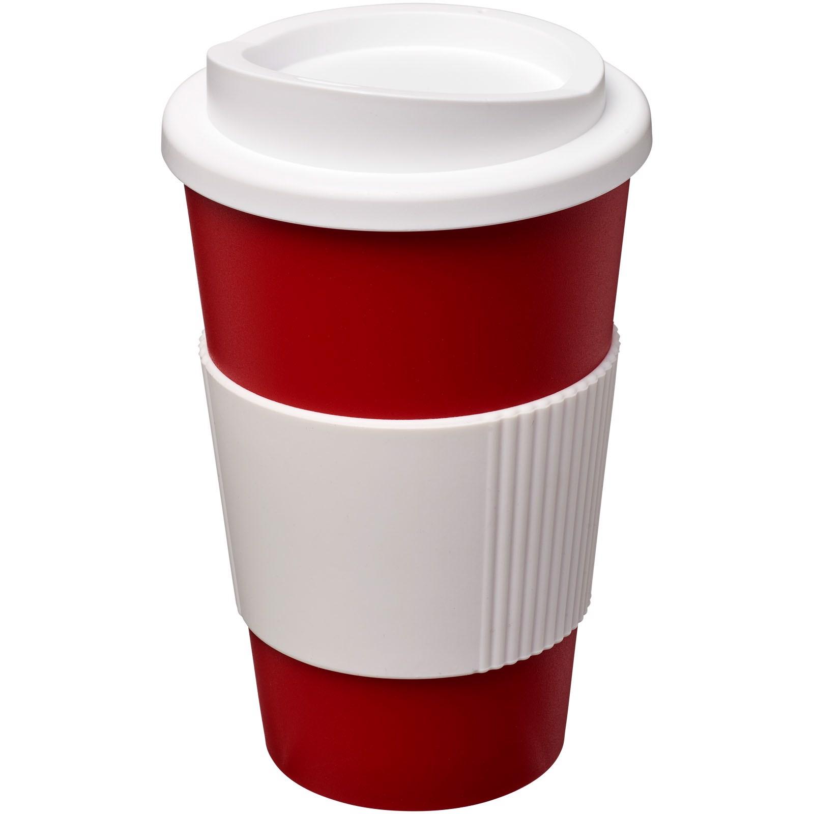 Termo hrnek s rukojetí Americano® 350 ml - Červená s efektem námrazy / Bílá
