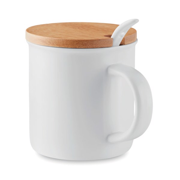 Porcelain mug with spoon Kenya