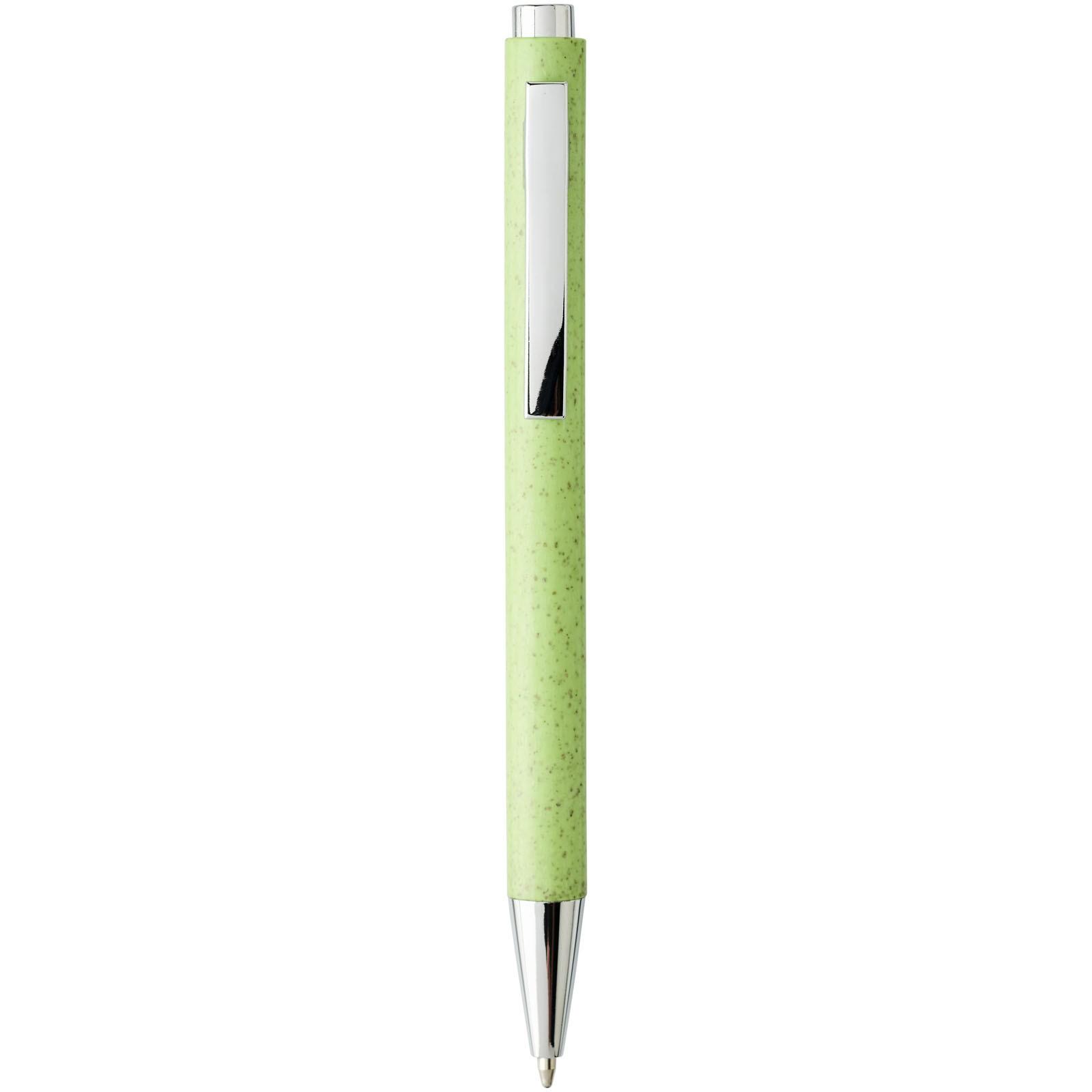 Tual kuličkové pero se stiskacím mechanismem z pšeničné slámy - Zelené jablko