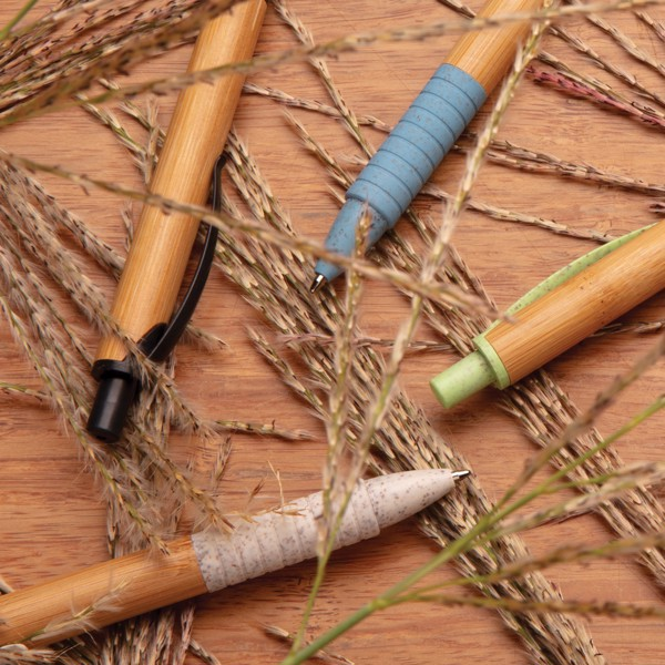 Bambusz és búzaszár toll - Zöld