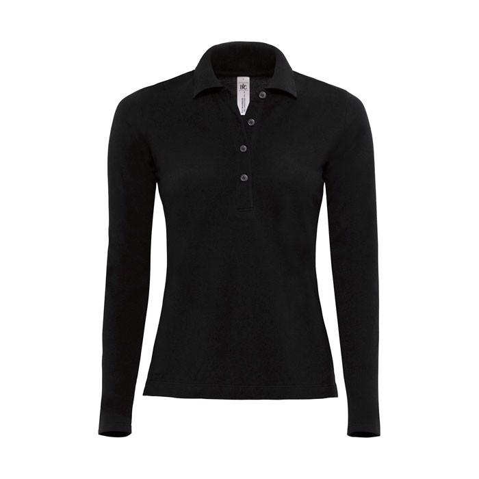 Damen Polo Shirt 180 g/m2 Ladies' Polo Ls - Black/Black Opal / XL