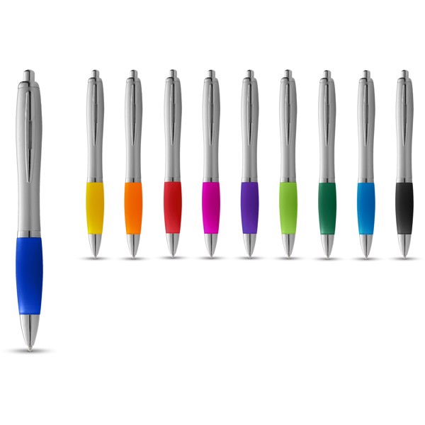 Nash ballpoint pen silver barrel and coloured grip - Silver / Red