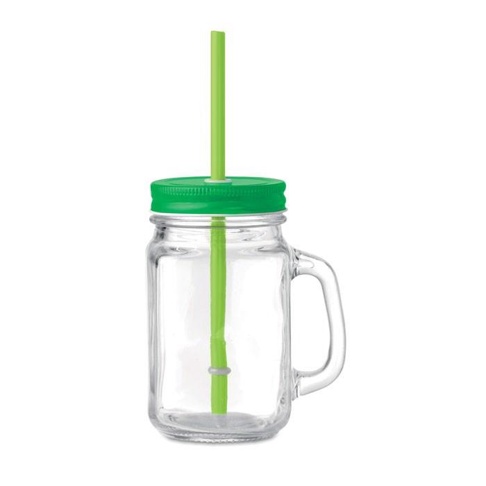 Glass Mason jar with straw Tropical Twist - Lime