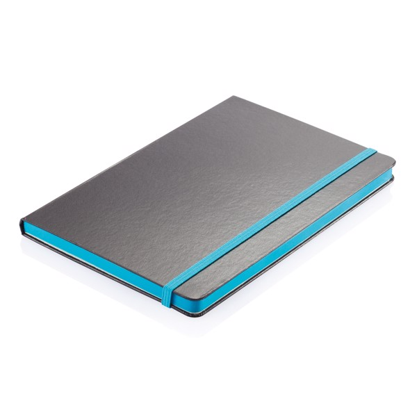 Deluxe hardcover A5 notebook with coloured side - Blue / Black