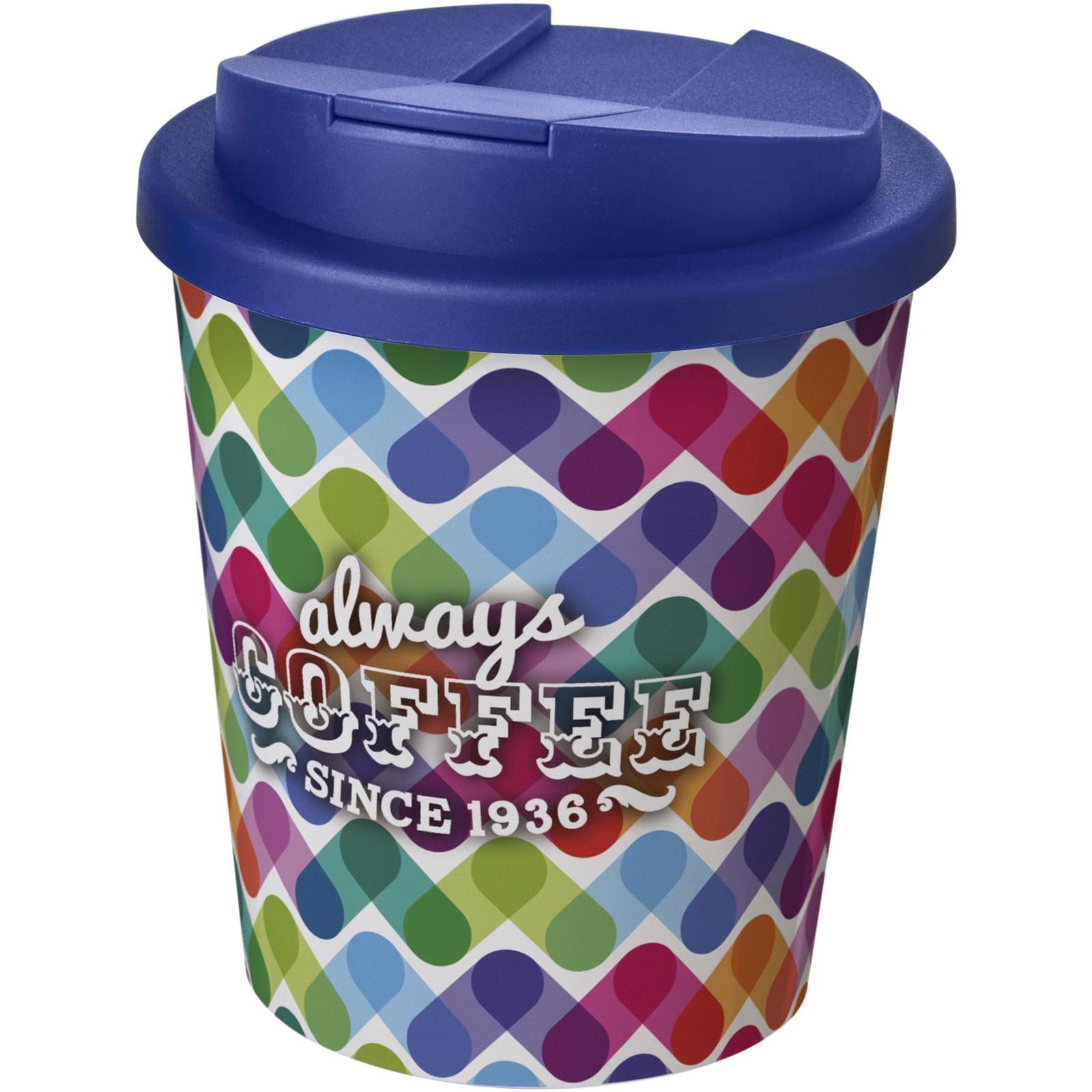Brite-Americano Espresso® 250 ml con tapa antigoteo - Blanco / Azul