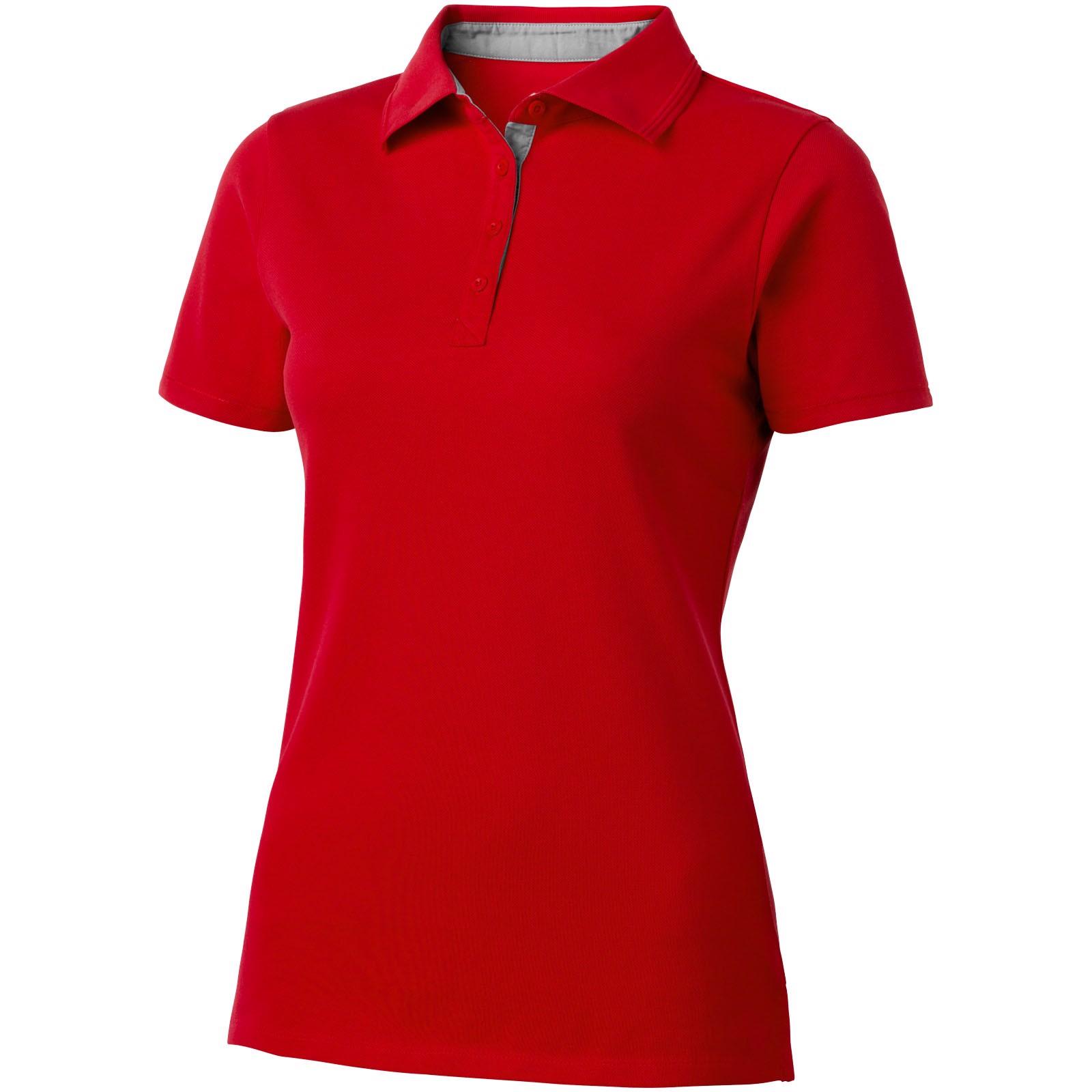 Hacker Poloshirt für Damen - Rot / Grau / L