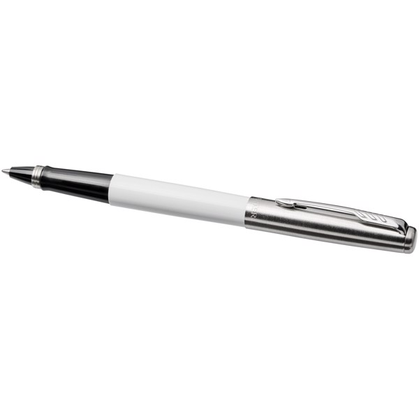Jotter plastic with stainless steel rollerbal pen - White