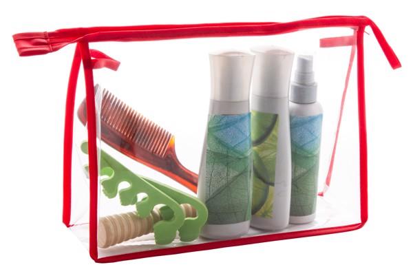 Geantă Cosmetice Losut - Transparent / Roșu