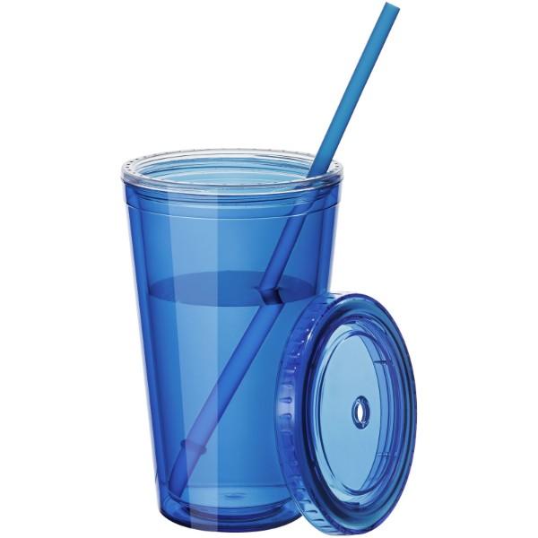 Termopohárek se slámkou Cyclone - Transparentní modrá