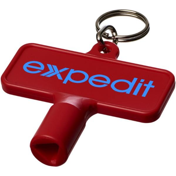 Maximilian obdélníkový montážní klíč s klíčenkou - Červená s efektem námrazy