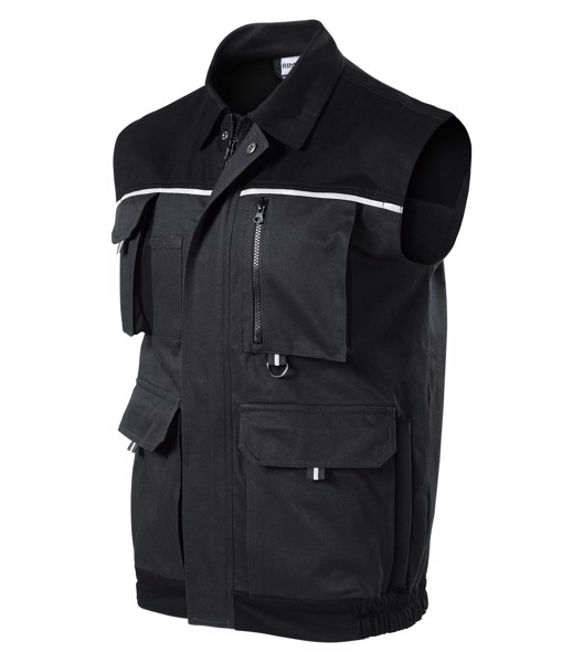 Work Vest Gents Rimeck Woody - Ebony Gray / S
