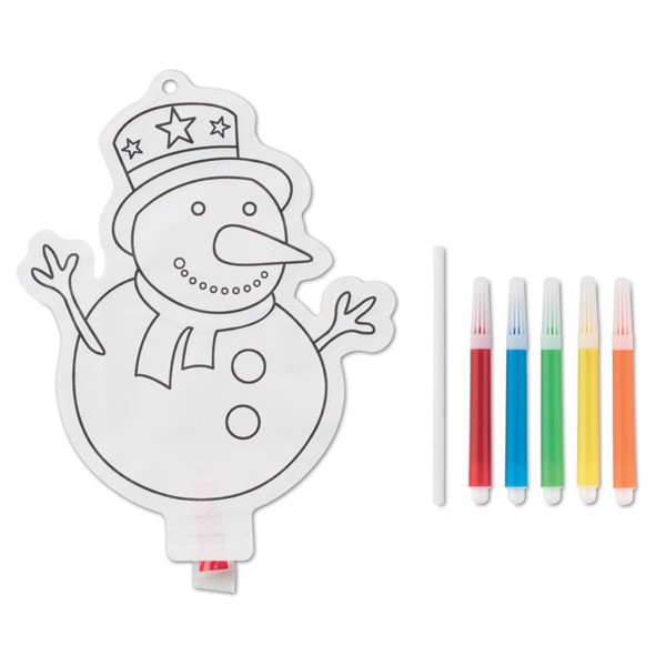 Snowman colouring balloon Snowball