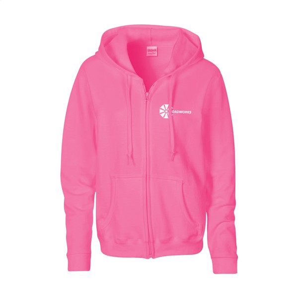 Gildan Heavyblend Hooded Full-Zip Sweater ladies - Pink / XL