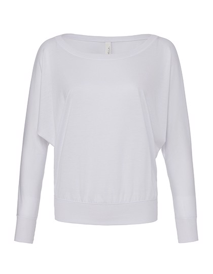 Flowy Long Sleeve Off The Shoulder Tee - White / L