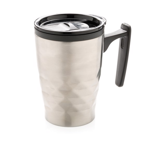 Hrnek na kávu sgeometrickým vzorem - Stříbrná