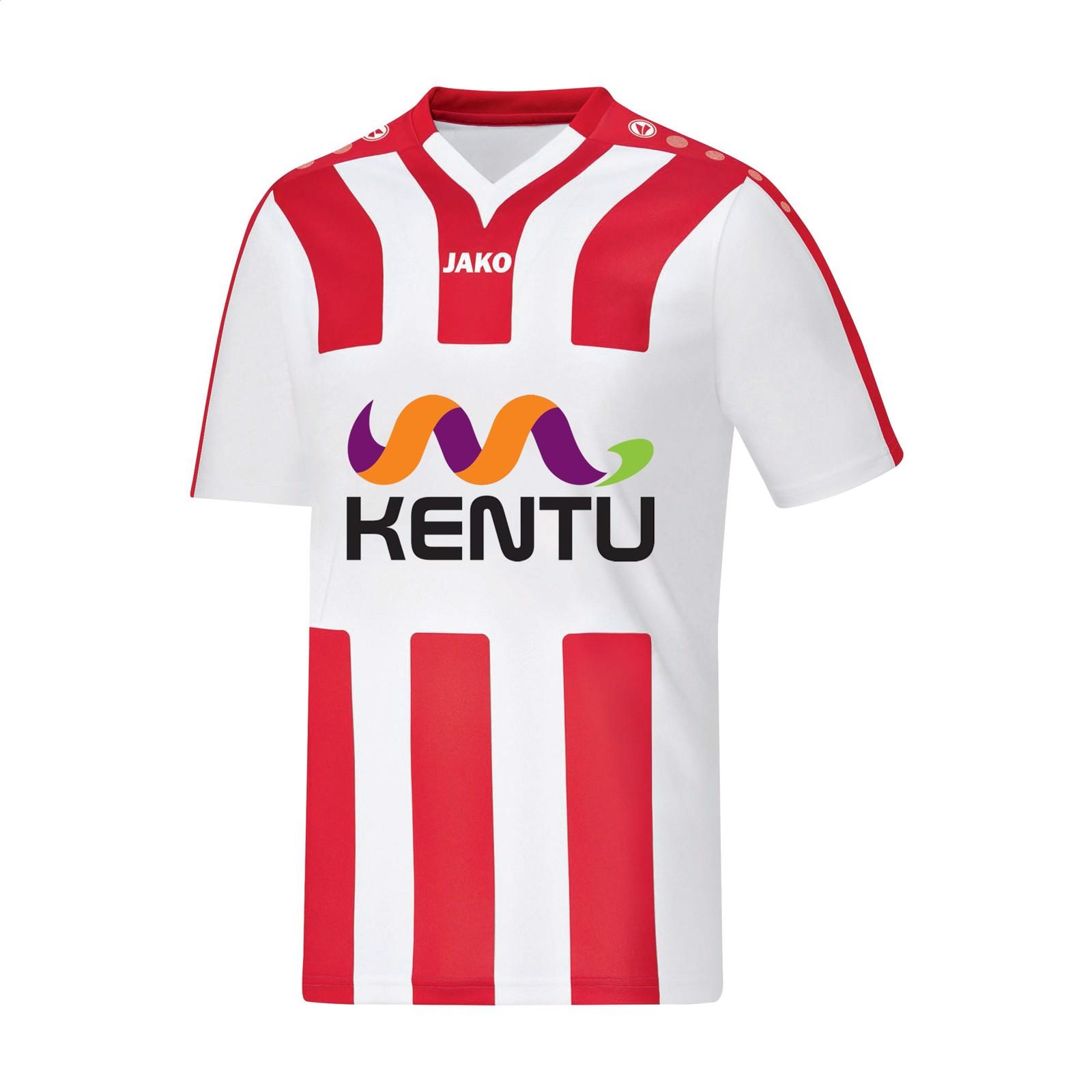 Jako® Shirt Santos KM mens sportshirt - White / Red / S