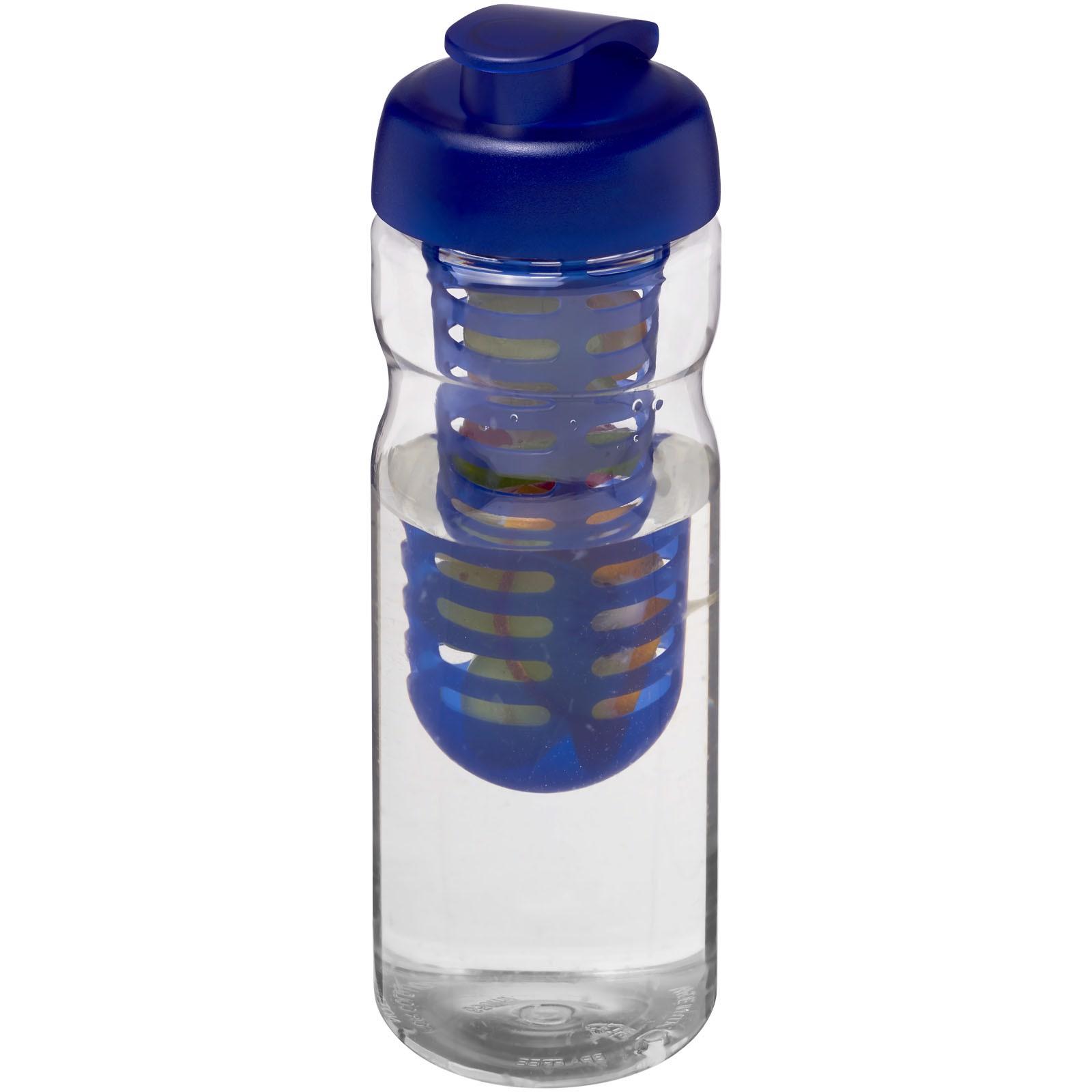 Sportovní láhev s infuzérema vyklápěcím víčkem H2O Base® 650 ml - Průhledná / Modrá