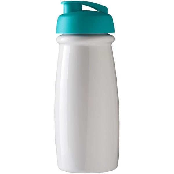 H2O Pulse® 600 ml flip lid sport bottle - White / Aqua
