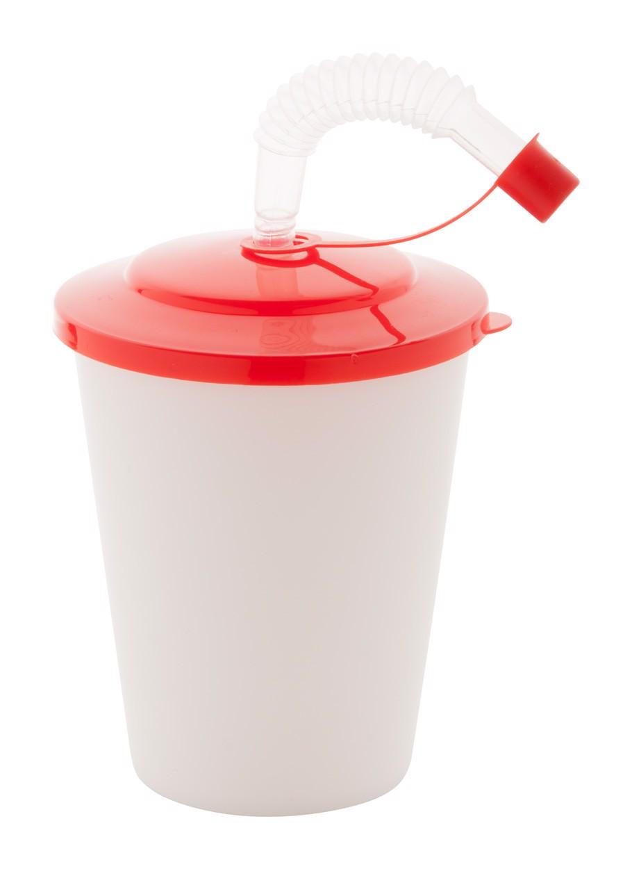 Uzavíratelný Plastový Pohárek Chico - Červená / Bílá