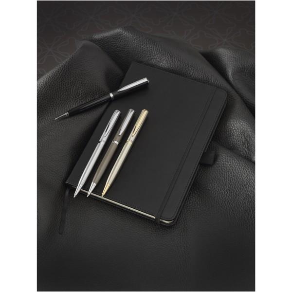 Lakované kuličkové pero - Stříbrný / Černá