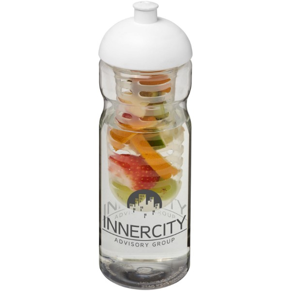 H2O Base® 650 ml dome lid sport bottle & infuser - Transparent / White
