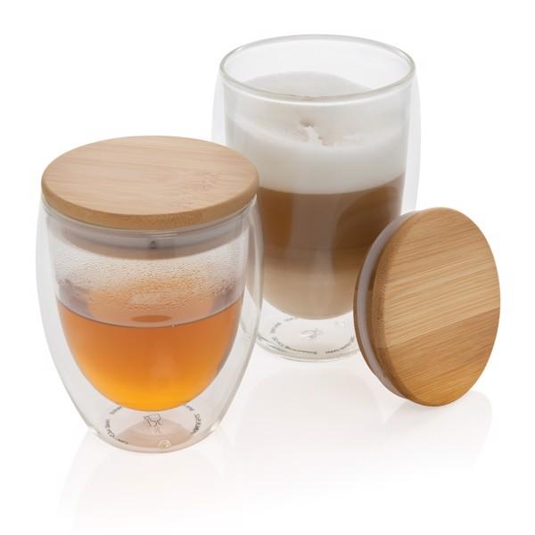 Double wall borosilicate glass with bamboo lid 250ml 2pc set