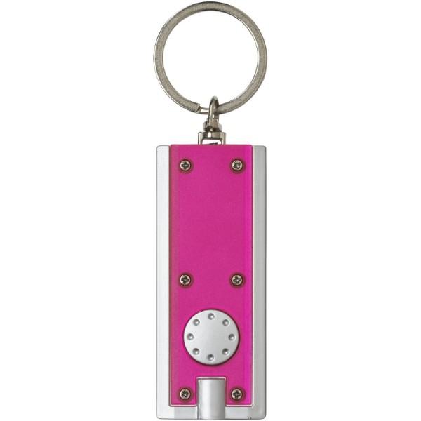 LED svítilna na klíče Castor - Magenta / Stříbrný