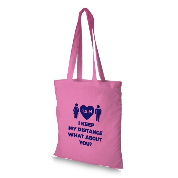 Madras 140 g/m² cotton tote bag - Pink