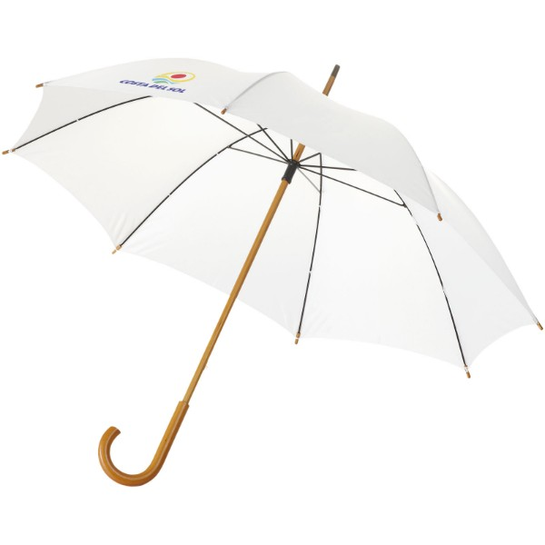 """Jova 23"""" umbrella with wooden shaft and handle - White"""