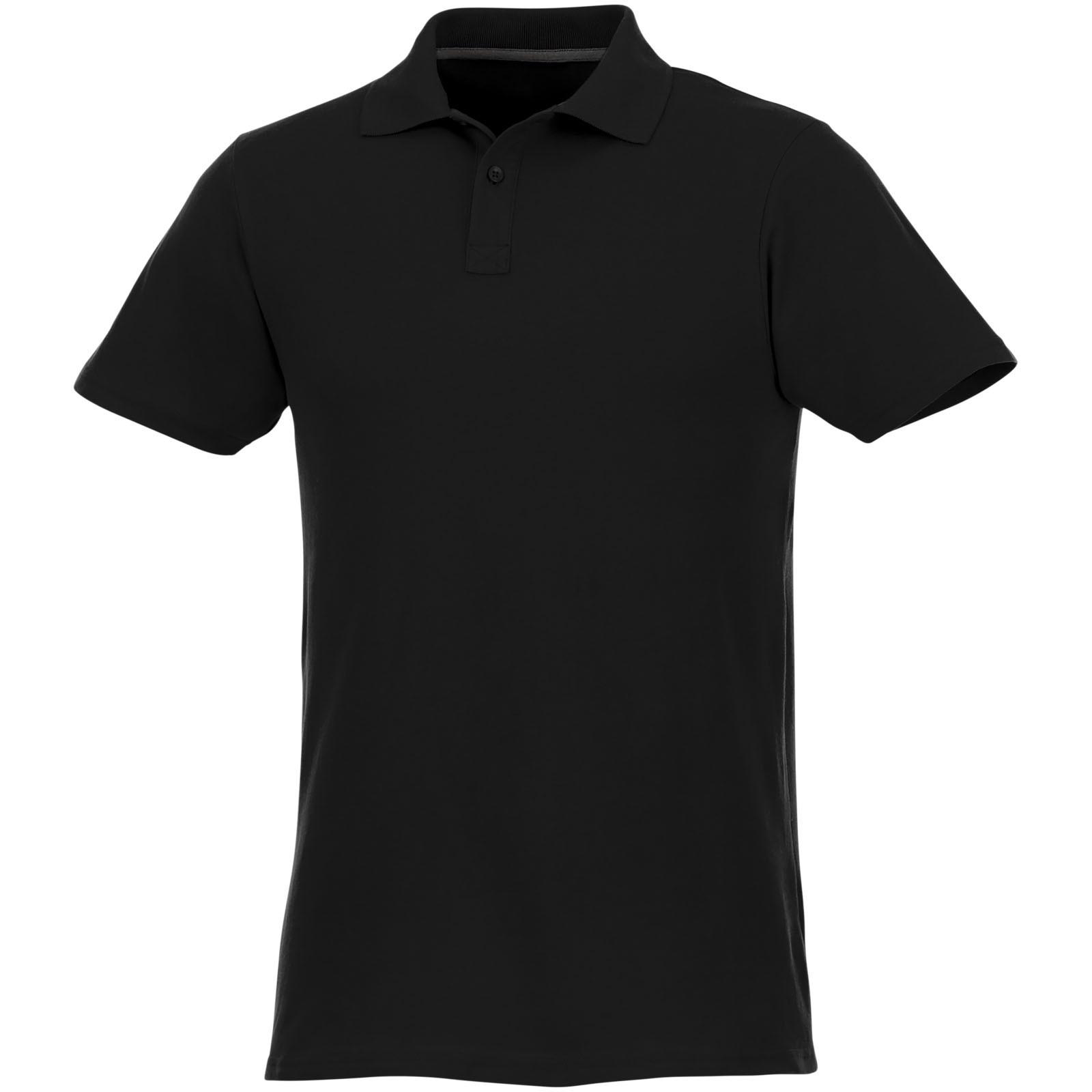 Helios short sleeve men's polo - Solid black / 5XL