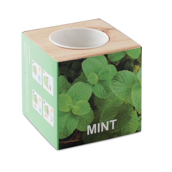 "Herb pot wood ""MINT"" Menta"
