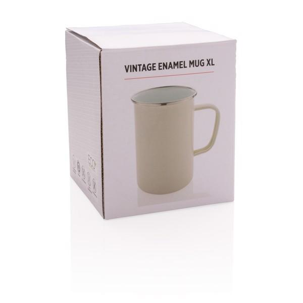 Vintage zománc bögre XL - Fehér