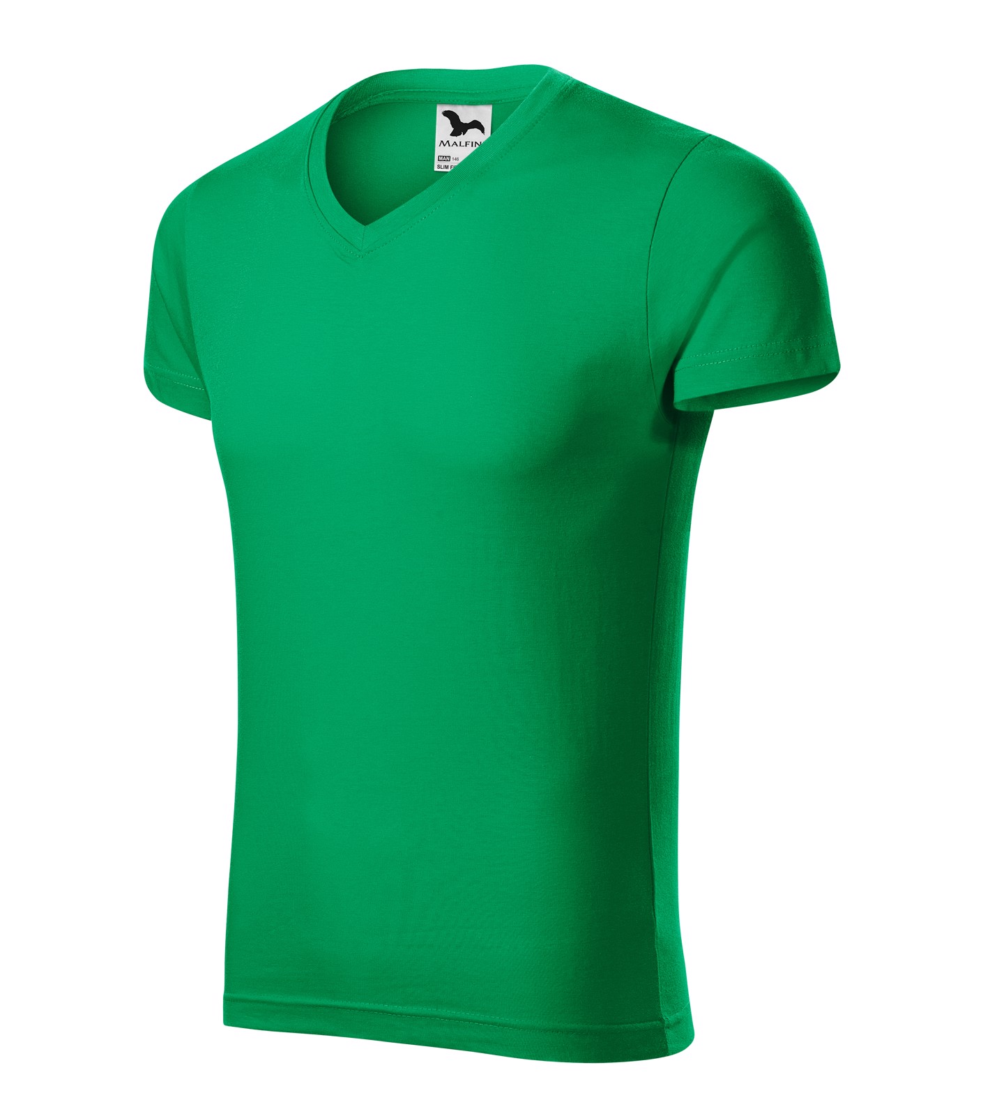 Tričko pánské Malfini Slim Fit V-neck - Středně Zelená / 3XL