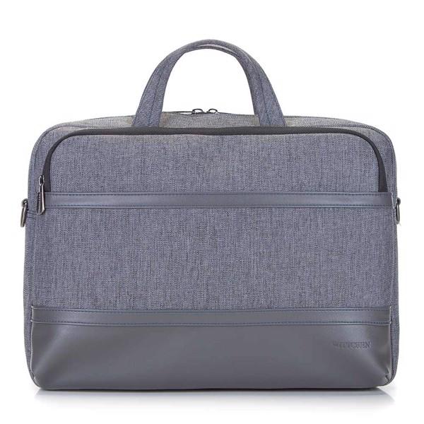 """Męska torba na laptopa 15,6"""" z panelem z ekoskóry - Gray"""