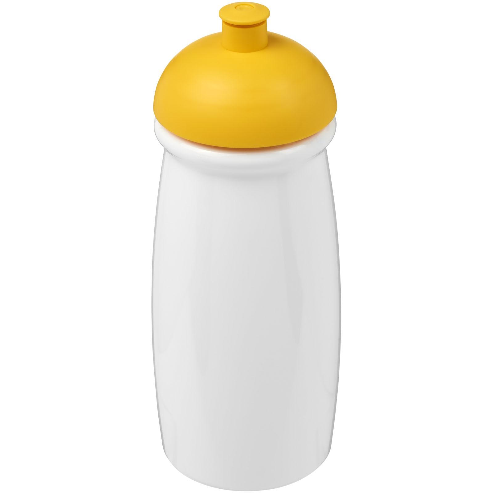 Sportovní láhev s kupolovitým víčkem H2O Pulse® 600 ml - Bílá / Žlutá