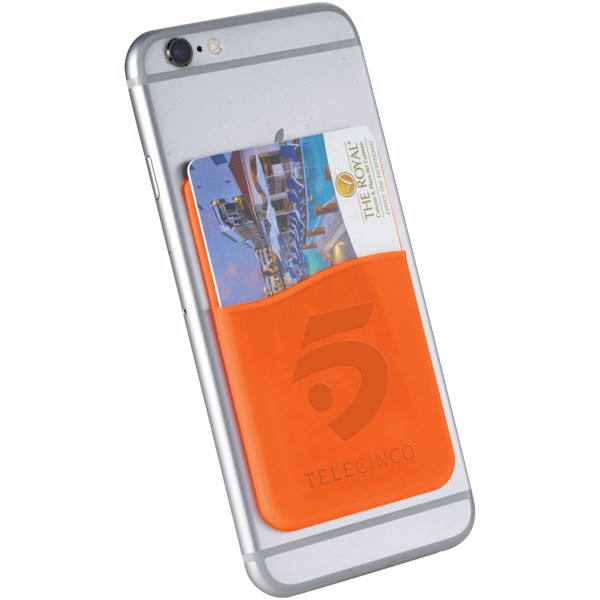 Slim card wallet accessory for smartphones - Orange
