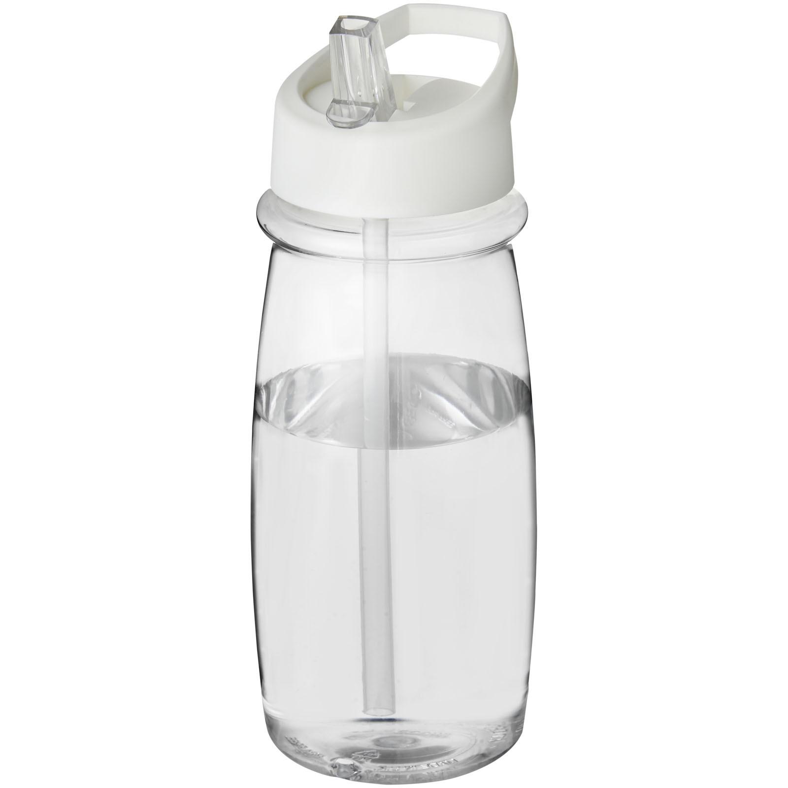 Sportovní láhev svíčkem shubičkou H2O Pulse 600 ml - Průhledná / Bílá