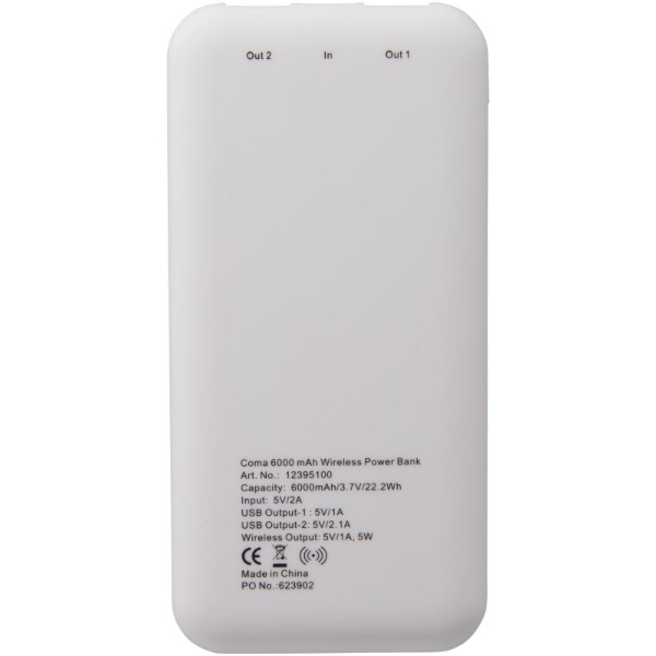 Coma 6000 mAh wireless power bank - White